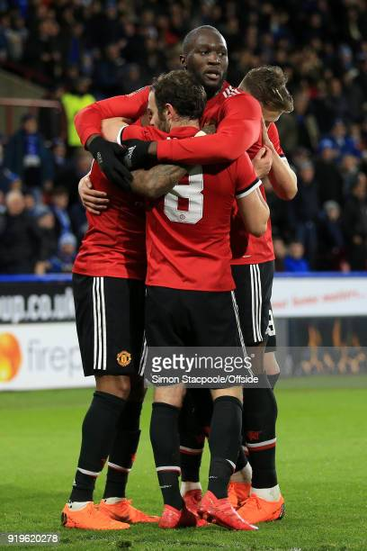 Romelu Lukaku of Man Utd celebrates with teammates before their goal was disallowed during The Emirates FA Cup Fifth Round match between Huddersfield...