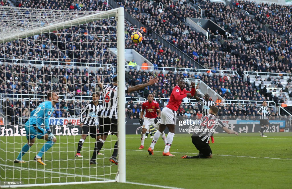 Romelu Lukaku of Man Utd has his goal disallowed for a foul during the Premier League match between Newcastle United and Manchester United at St. James Park on February 11, 2018 in Newcastle upon Tyne, England.