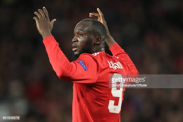 Romelu Lukaku of Man Utd reacts after seeing Sevilla goalkeeper Sergio Rico save an effort from Marouane Fellaini of Man Utd during the UEFA...