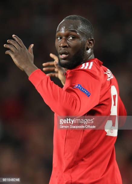 Romelu Lukaku of Man Utd reacts after seeing Sevilla goalkeeper Sergio Rico save an effort from Marouane Fellaini during the UEFA Champions League...