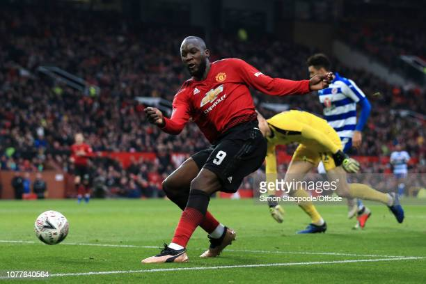 Romelu Lukaku of Man Utd scores their 2nd goal during the FA Cup Third Round match between Manchester United and Reading at Old Trafford on January 5...