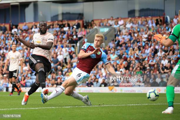 Romelu Lukaku of Man Utd scores their 2nd goal during the Premier League match between Burnley and Manchester United at Turf Moor on September 2 2018...