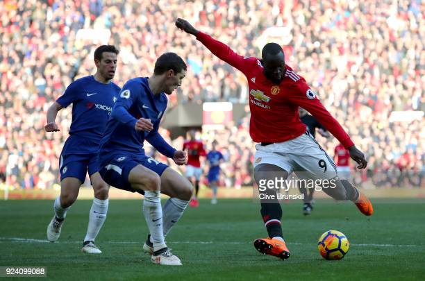 Romelu Lukaku of Manchester United and Andreas Christensen of Chelsea in action during the Premier League match between Manchester United and Chelsea...