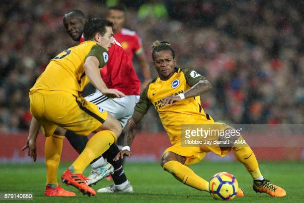 Romelu Lukaku of Manchester United and Gaetan Bong of Brighton Hove Albion during the Premier League match between Manchester United and Brighton and...