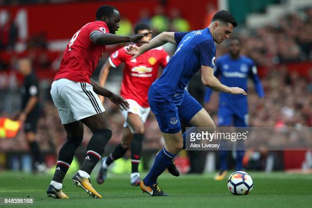 Romelu Lukaku of Manchester United and Michael Keane of Everton battle for possession during the Premier League match between Manchester United and...