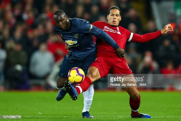 Romelu Lukaku of Manchester United and Virgil van Dijk of Liverpool during the Premier League match between Liverpool FC and Manchester United at...