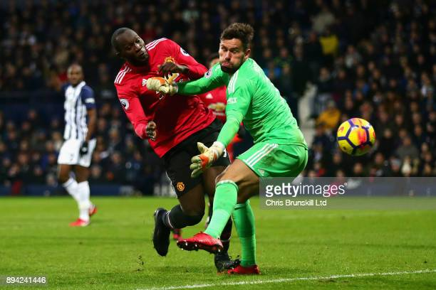 Romelu Lukaku of Manchester United attempts a shot past Ben Foster of West Bromwich Albion during the Premier League match between West Bromwich...
