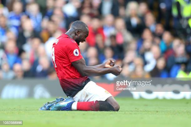 Romelu Lukaku of Manchester United celebrates after Anthony Martial of Manchester United scores his team's second goal during the Premier League...