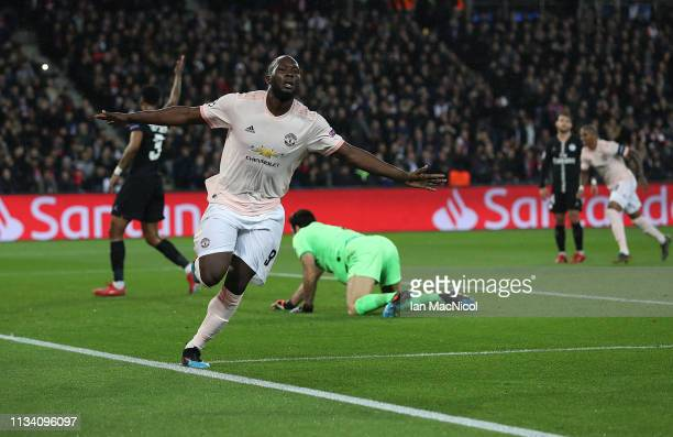 Romelu Lukaku of Manchester United celebrates after he scores the opening goal during the UEFA Champions League Round of 16 Second Leg match between...