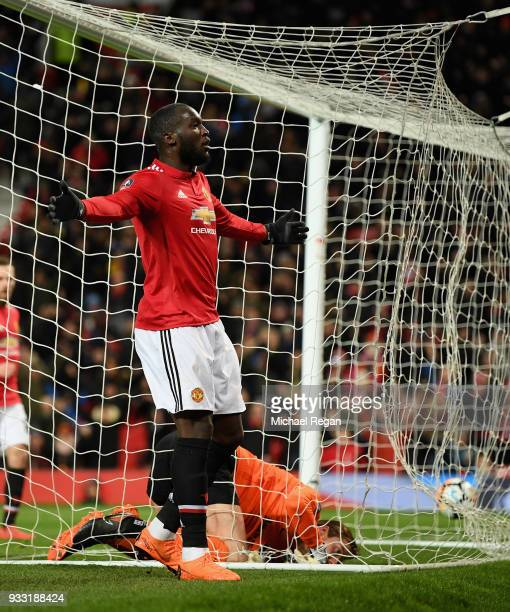 Romelu Lukaku of Manchester United celebrates after he scores the opening goal during the Emirates FA Cup Quarter Final between Manchester United and...