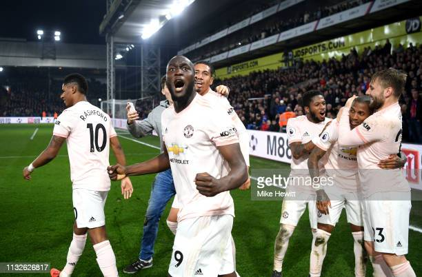 Romelu Lukaku of Manchester United celebrates after his team's third goal scored by Ashley Young of Manchester United during the Premier League match...