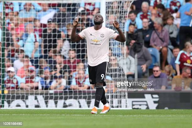 Romelu Lukaku of Manchester United celebrates after scoring a goal to make it 20 during the Premier League match between Burnley FC and Manchester...