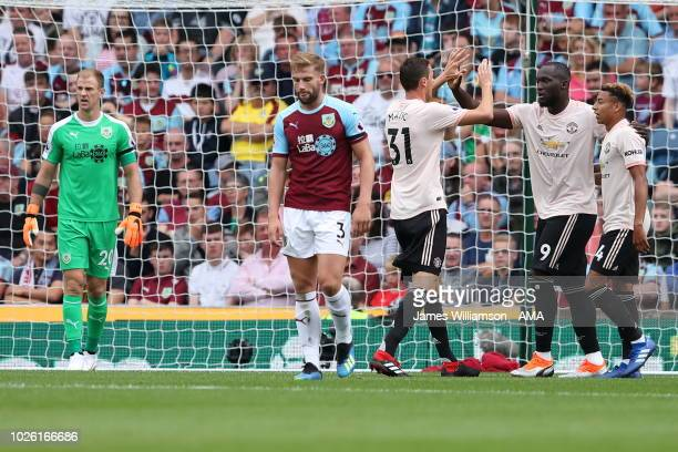 Romelu Lukaku of Manchester United celebrates after scoring a goal to make it 10 during the Premier League match between Burnley FC and Manchester...