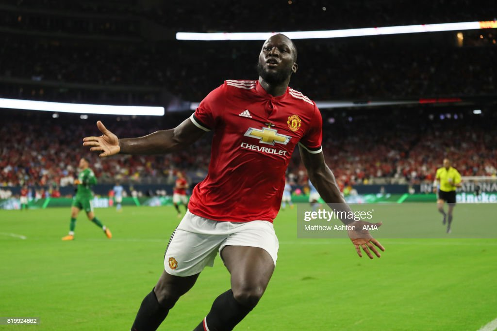 Romelu Lukaku of Manchester United celebrates after scoring a goal to make it 1-0 during the International Champions Cup 2017 match between Manchester United and Manchester City at NRG Stadium on July 20, 2017 in Houston, Texas.