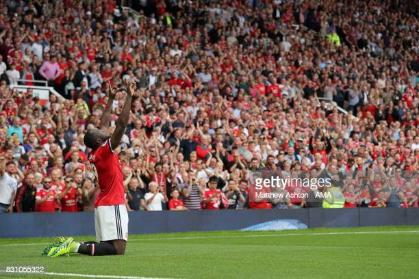 Romelu Lukaku of Manchester United celebrates after scoring a goal to make it 10 during the Premier League match between Manchester United and West...