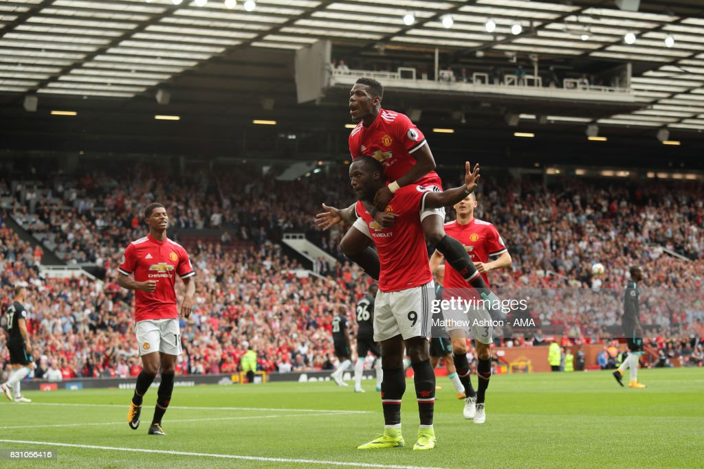 Romelu Lukaku of Manchester United celebrates after scoring a goal to make it 2-0 during the Premier League match between Manchester United and West Ham United at Old Trafford on August 13, 2017 in Manchester, England.
