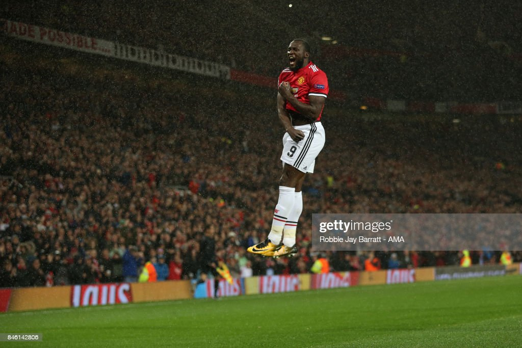 Romelu Lukaku of Manchester United celebrates after scoring a goal to make it 2-0 during to the UEFA Champions League match between Manchester United and FC Basel at Old Trafford on September 12, 2017 in Manchester, England.