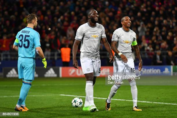 Romelu Lukaku of Manchester United celebrates after scoring his second and his sides third goal during the UEFA Champions League group A match...