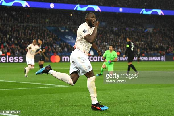 Romelu Lukaku of Manchester United celebrates after scoring his sides first goal during the UEFA Champions League Round of 16 Second Leg match...