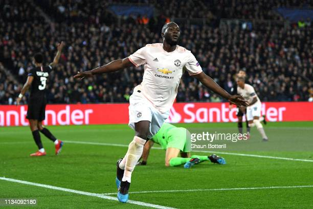 Romelu Lukaku of Manchester United celebrates after scoring his sides second goal during the UEFA Champions League Round of 16 Second Leg match...