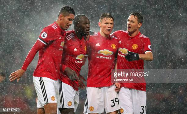 Romelu Lukaku of Manchester United celebrates after scoring his sides first goal with his Manchester United team mates during the Premier League...