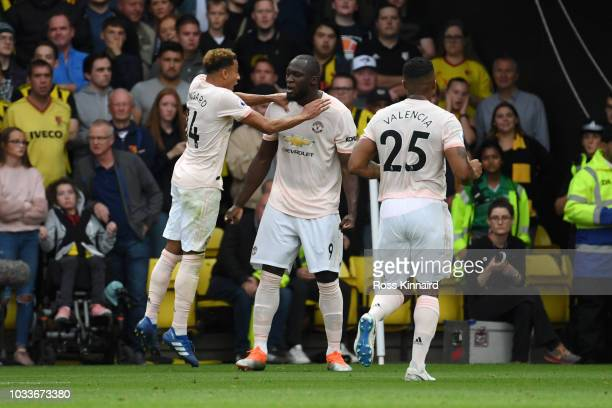 Romelu Lukaku of Manchester United celebrates after scoring his team's first goal with Jesse Lingard of Manchester United during the Premier League...
