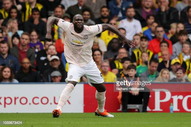 Romelu Lukaku of Manchester United celebrates after scoring his team's first goal during the Premier League match between Watford FC and Manchester...