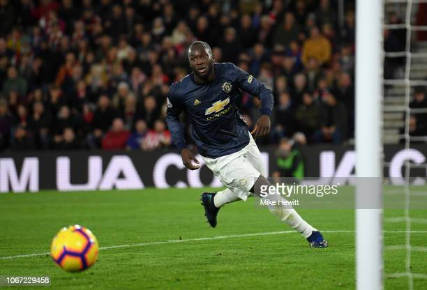 Romelu Lukaku of Manchester United celebrates after scoring his team's first goal during the Premier League match between Southampton FC and...