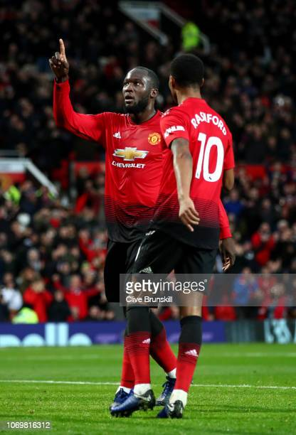 Romelu Lukaku of Manchester United celebrates after scoring his team's third goal with Marcus Rashford of Manchester United during the Premier League...