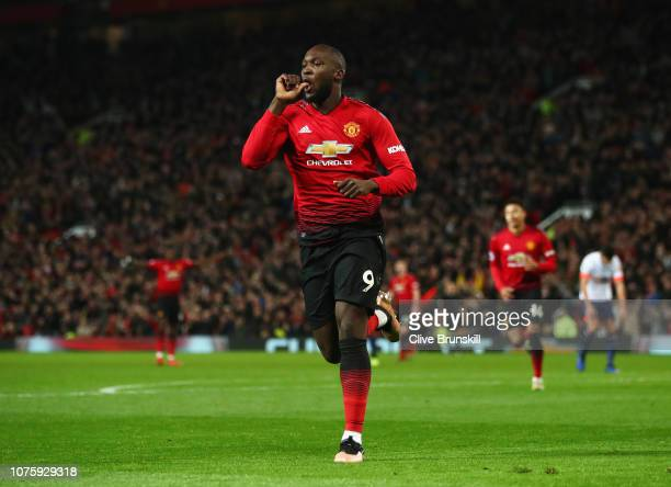 Romelu Lukaku of Manchester United celebrates after scoring his team's fourth goal during the Premier League match between Manchester United and AFC...