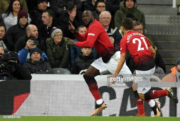 Romelu Lukaku of Manchester United celebrates after scoring his team's first goal with Ander Herrera of Manchester United during the Premier League...