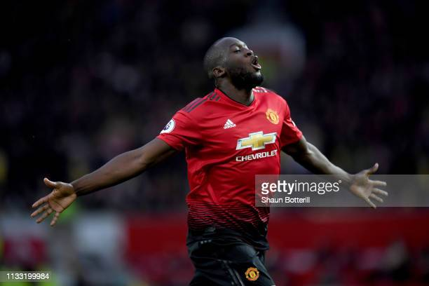Romelu Lukaku of Manchester United celebrates after scoring his team's second goal during the Premier League match between Manchester United and...