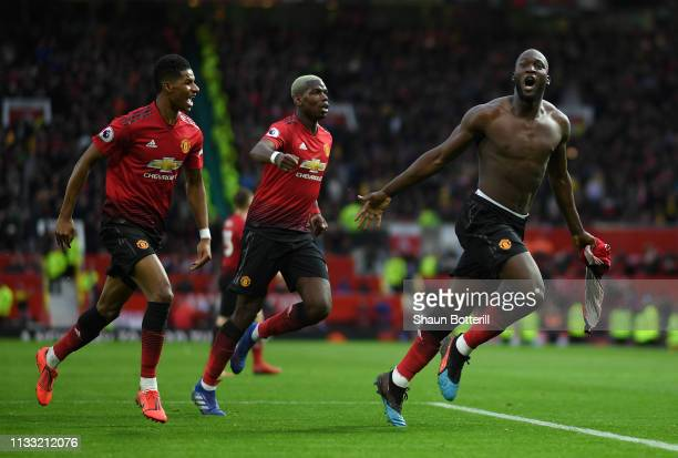 Romelu Lukaku of Manchester United celebrates after scoring the winning goal during the Premier League match between Manchester United and...