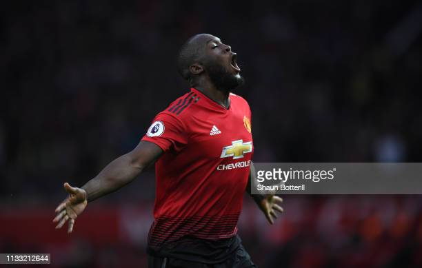 Romelu Lukaku of Manchester United celebrates after scoring the second goal during the Premier League match between Manchester United and Southampton...
