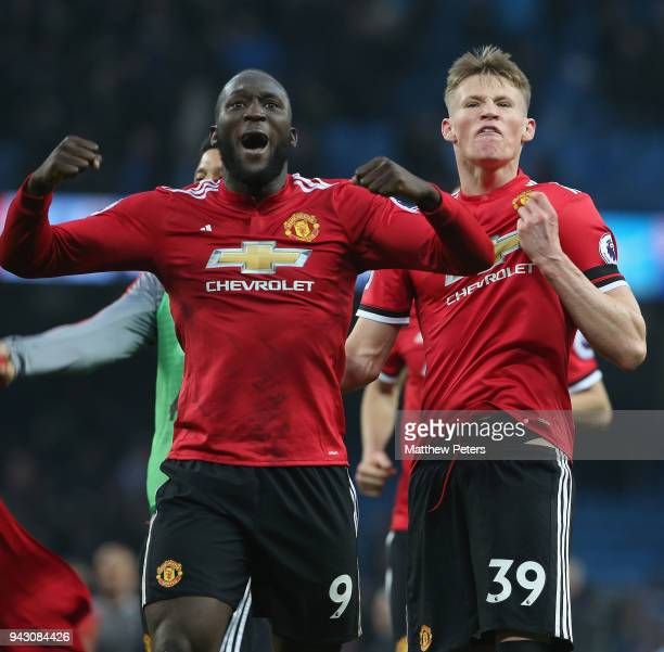 Romelu Lukaku of Manchester United celebrates after the Premier League match between Manchester City and Manchester United at Etihad Stadium on April...