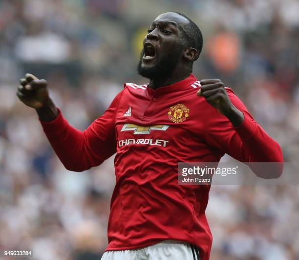 Romelu Lukaku of Manchester United celebrates Alexis Sanchez scoring their first goal during the Emirates FA Cup semifinal match between Manchester...
