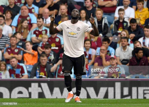 Romelu Lukaku of Manchester United celebrates as he scores his team's second goal during the Premier League match between Burnley FC and Manchester...