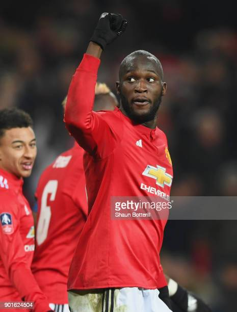 Romelu Lukaku of Manchester United celebrates as he scores their second goal during the Emirates FA Cup Third Round match between Manchester United...