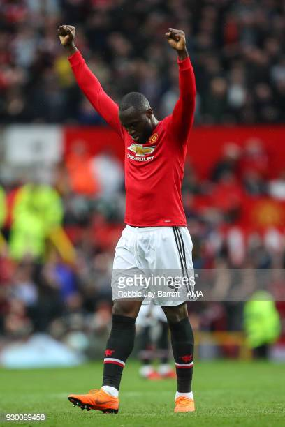 Romelu Lukaku of Manchester United celebrates at full time during the Premier League match between Manchester United and Liverpool at Old Trafford on...