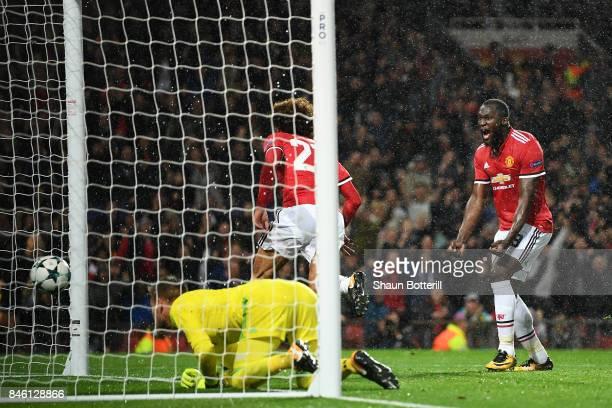 Romelu Lukaku of Manchester United celebrates his sides first goal as Marouane Fellaini of Manchester United celebrates scoring his sides first goal...