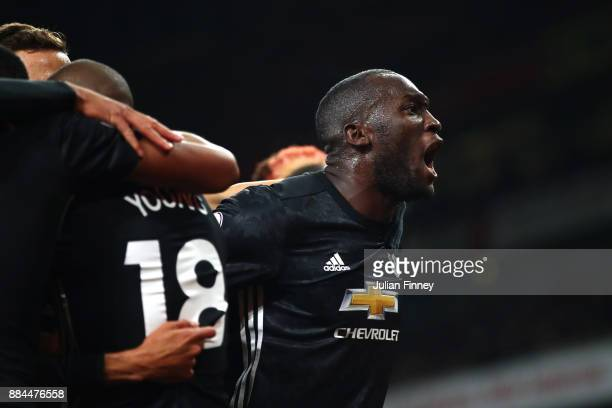 Romelu Lukaku of Manchester United celebrates his sides second goal during the Premier League match between Arsenal and Manchester United at Emirates...