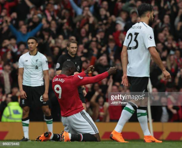 Romelu Lukaku of Manchester United celebrates Marcus Rashford scoring their second goal during the Premier League match between Manchester United and...