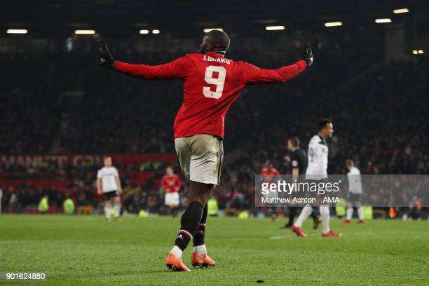 Romelu Lukaku of Manchester United celebrates scoring a goal to make the score 20 during the Emirates FA Cup Third Round match between Manchester...