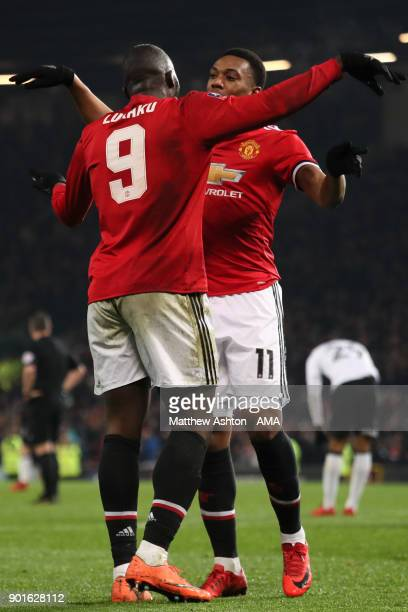 Romelu Lukaku of Manchester United celebrates scoring a goal to make the score 20 with Anthony Martial during the Emirates FA Cup Third Round match...