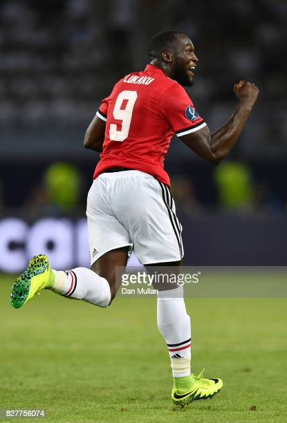 Romelu Lukaku of Manchester United celebrates scoring his sides first goal during the UEFA Super Cup final between Real Madrid and Manchester United...