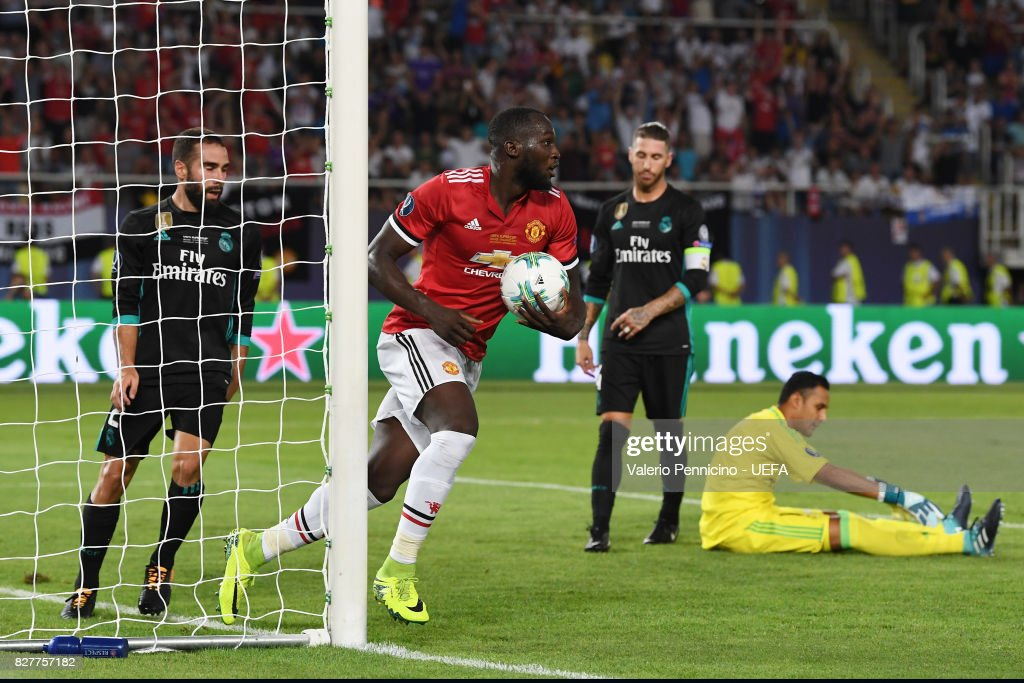 Romelu Lukaku of Manchester United celebrates scoring his sides first goal during the UEFA Super Cup final between Real Madrid and Manchester United at the Philip II Arena on August 8, 2017 in Skopje, Macedonia.