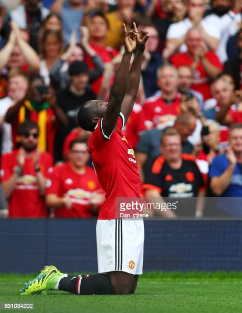 Romelu Lukaku of Manchester United celebrates scoring his sides first goal during the Premier League match between Manchester United and West Ham...