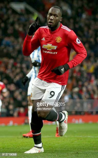 Romelu Lukaku of Manchester United celebrates scoring his side's first goal during the Premier League match between Manchester United and...