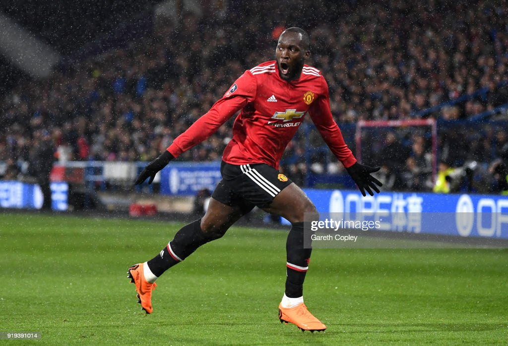 Romelu Lukaku of Manchester United celebrates scoring his side's first goal during the The Emirates FA Cup Fifth Round between Huddersfield Town v Manchester United on February 17, 2018 in Huddersfield, United Kingdom.
