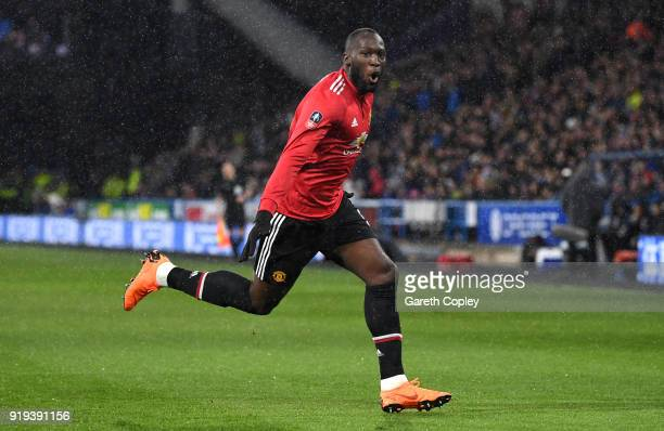 Romelu Lukaku of Manchester United celebrates scoring his side's first goal during the The Emirates FA Cup Fifth Round between Huddersfield Town v...